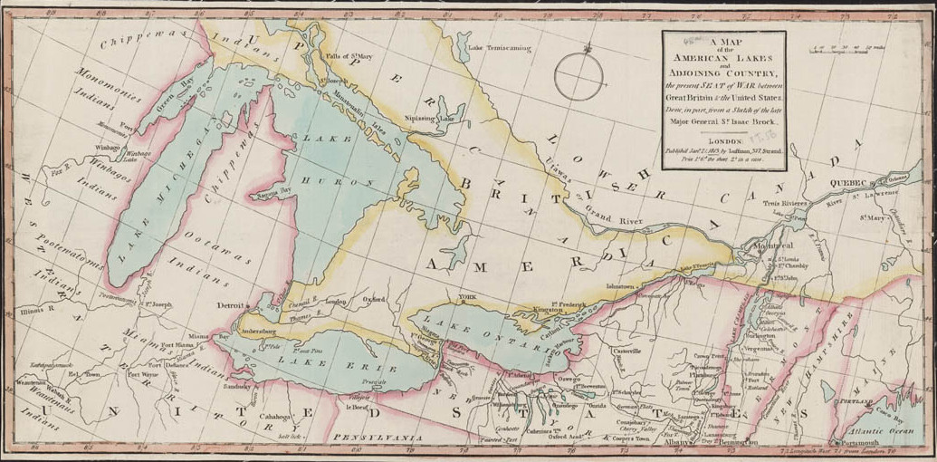 Map Of Upper Canada And Surrounding Provinces And States War Of