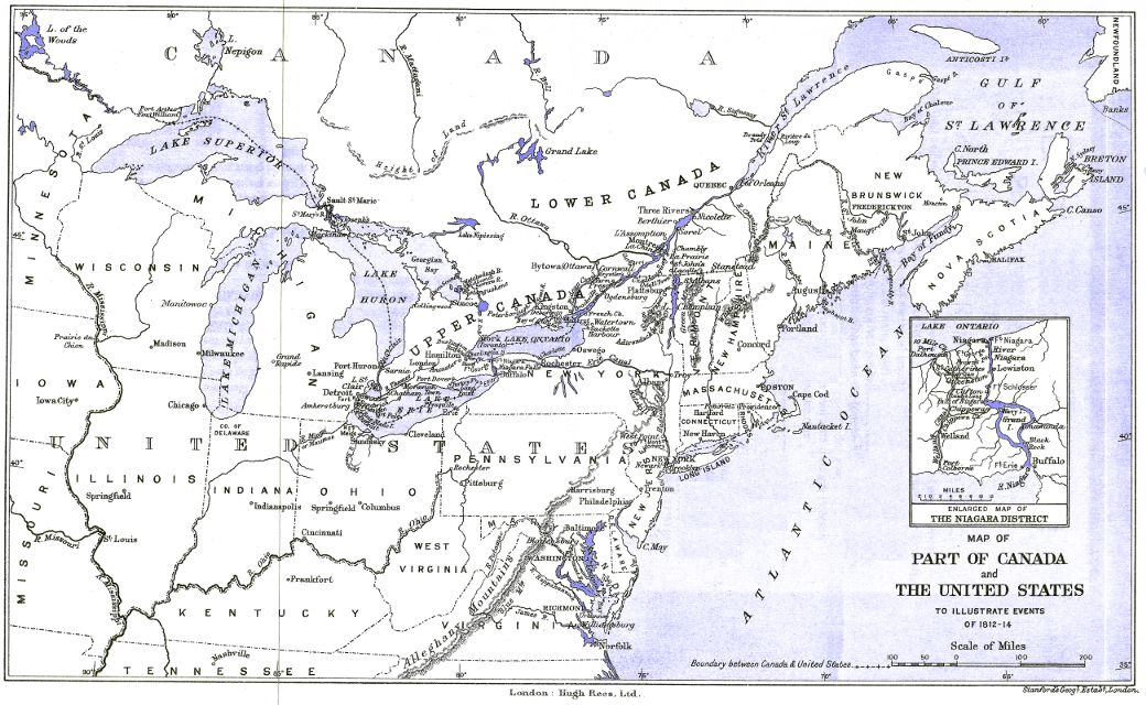 Map Of Part Of Canada And The United States To Illustrate Events Of - Us-map-1812